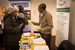 Community Safety & Wellbeing Day at the Eric Allen Community Centre in Tottenham, London 2016. Stalls provided information about community initiatives including health & safety projects and volunteering & employment opportunities. LB Haringey UK