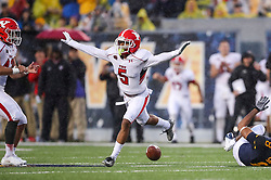 Sep 8, 2018; Morgantown, WV, USA; Youngstown State Penguins cornerback William Latham (5) celebrates after breaking up a pass during the second quarter against the West Virginia Mountaineers at Mountaineer Field at Milan Puskar Stadium. Mandatory Credit: Ben Queen-USA TODAY Sports
