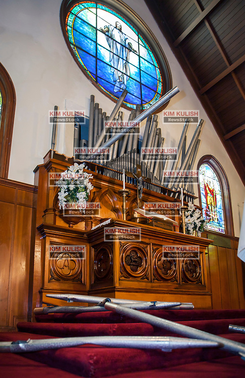 Organ pipes were damaged and toppled inside the historic St. Peters Chapel on Mare Island following the  6.0 earthquake that struck in Napa County on August 24, 2014.  Built in 1901, it is the oldest naval chapel in the U.S.  The  chapel's famous Tiffany stained windows were not damaged.