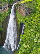 Aerial view of Manawaiopuna Falls, Kauai, Hawaii, featured in Jurassic Park movie.