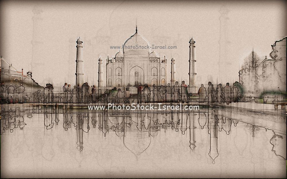 Digitally enhanced image of The Taj Mahal, in India, Uttar Pradesh, Agra,