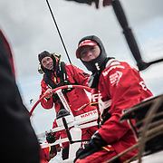 Leg 3, Cape Town to Melbourne, day 03, Tamara Echegoyen and Rob Greenhalgh on board MAPFRE. Photo by Jen Edney/Volvo Ocean Race. 16 December, 2017.