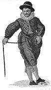 An English sea captain.  Engraving from Waghenhaer 'Mariner's Mirrour', London, 1588.