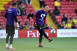 Watford goalkeeper Pontus Dahlberg (right) during the pre-match warm up