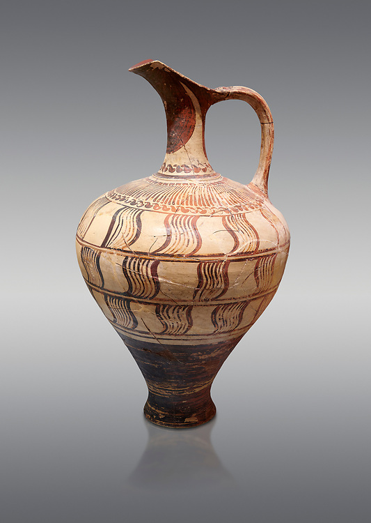 Minoan decorated jug with geometric design , Zafer Papoura 1400-1250 BC; Heraklion Archaeological Museum, grey background .<br /> <br /> If you prefer to buy from our ALAMY PHOTO LIBRARY  Collection visit : https://www.alamy.com/portfolio/paul-williams-funkystock/minoan-art-artefacts.html . Type -   Heraklion   - into the LOWER SEARCH WITHIN GALLERY box. Refine search by adding background colour, place, museum etc<br /> <br /> Visit our MINOAN ART PHOTO COLLECTIONS for more photos to download  as wall art prints https://funkystock.photoshelter.com/gallery-collection/Ancient-Minoans-Art-Artefacts-Antiquities-Historic-Places-Pictures-Images-of/C0000ricT2SU_M9w