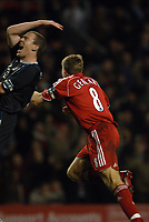Photo: Paul Greenwood.<br />Liverpool v Manchester City. The Barclays Premiership. 25/11/2006. Manchester City's Richard Dunne, left, reacts after Liverpool's Steven Gerrard runs away in celebration