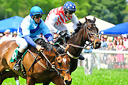 24  March, 2012:  Jacob Roberts and CLASSIC BRIDGES (left) battle with EZ MAC and Roddy Mackenzie in the James W Maloney Maiden Hurdle.
