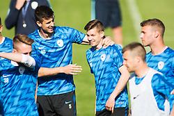 Nemanja Mitrovic, Miha Zajc of Slovenia national football team during practice session, on June 3, 2019 in Kranjska Gora, Slovenia. Photo by Peter Podobnik/ Sportida