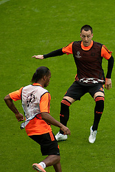 18.05.2012, Allianz Arena, Muenchen, GER, UEFA CL, Finale, Vorberichte, Training Chelsea, im Bild Chelsea's Ivory Coast forward Didier Drogba and Chelsea's English defender John Terry during the official Chelsea training during practice session of Chelsea, preliminary reports for the UEFA CL final on picture stadium allianz arena, munich, GER, on 2012/05/18 . EXPA Pictures © 2012, PhotoCredit: EXPA/ Mitchel Gunn
