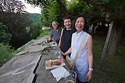 """Gars am Kamp, Lower Austria. Kunstraum Buchberg at Buchberg castle. Opening of the permanent installation """"cinéma"""" (2014) by Dorit Margreiter.<br /> From l.: János Kalmár, Nicole Schmidt, Tak-Yee Margreiter"""