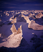 Aerial view of the Arrigetch Peaks in winter, Brooks Range, Gates of the Arctic National Park, Alaska.