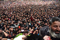 May 3, 2019 - Pulwama, Jammu and Kashmir, India - Kashmiri villagers are seen carrying the dead body of LATEEF TIGER during his funeral at his residence in Dogripora. Thousands of people attend the funeral procession of Lateef Ahmed Dar alias Lateef ''Tiger'' at his residence in Dogripora village, South of Srinagar. Lateef ''Tiger'', the last surviving militant of the 10 associates of Hizbul Mujhaideen commander Burhan Wani, who was killed in an encounter in July 2016. Lateef was among three Rebels killed in an encounter by Indian forces in poll-bound Shopian district of Jammu and Kashmir, the Army said. (Credit Image: © Idrees Abbas/SOPA Images via ZUMA Wire)