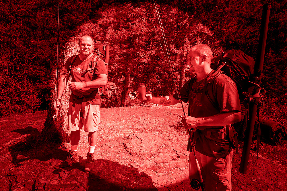 Two men, Jerry & Jason, that came to the cabin asking me for cigarettes, fresh water and a map.  They claimed they flew in to Schafer Meadows and hiked instead of rafting.