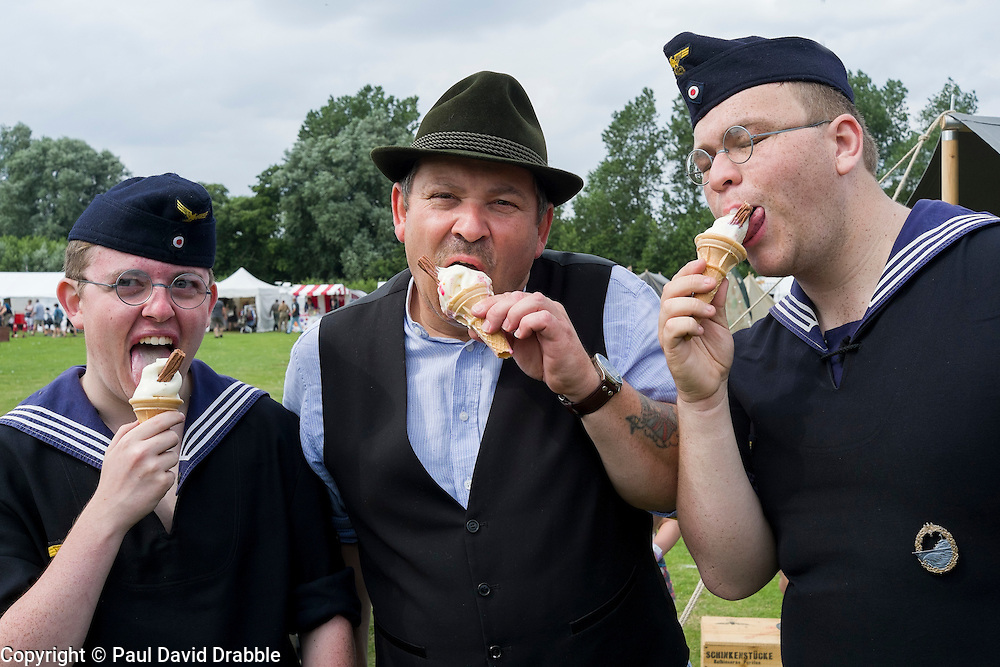 Cleethorpes 2015 Final hours of Operation Last Resort and Wehrmacht Volkssturm operating alongside Naval Infantry  units attack ice cream cornets<br /> <br /> August 2015<br />  Image © Paul David Drabble <br />  www.pauldaviddrabble.co.uk