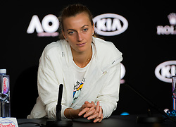 January 26, 2019 - Melbourne, AUSTRALIA - Petra Kvitova of the Czech Republic talks to the media after losing the final of the 2019 Australian Open Grand Slam tennis tournament (Credit Image: © AFP7 via ZUMA Wire)