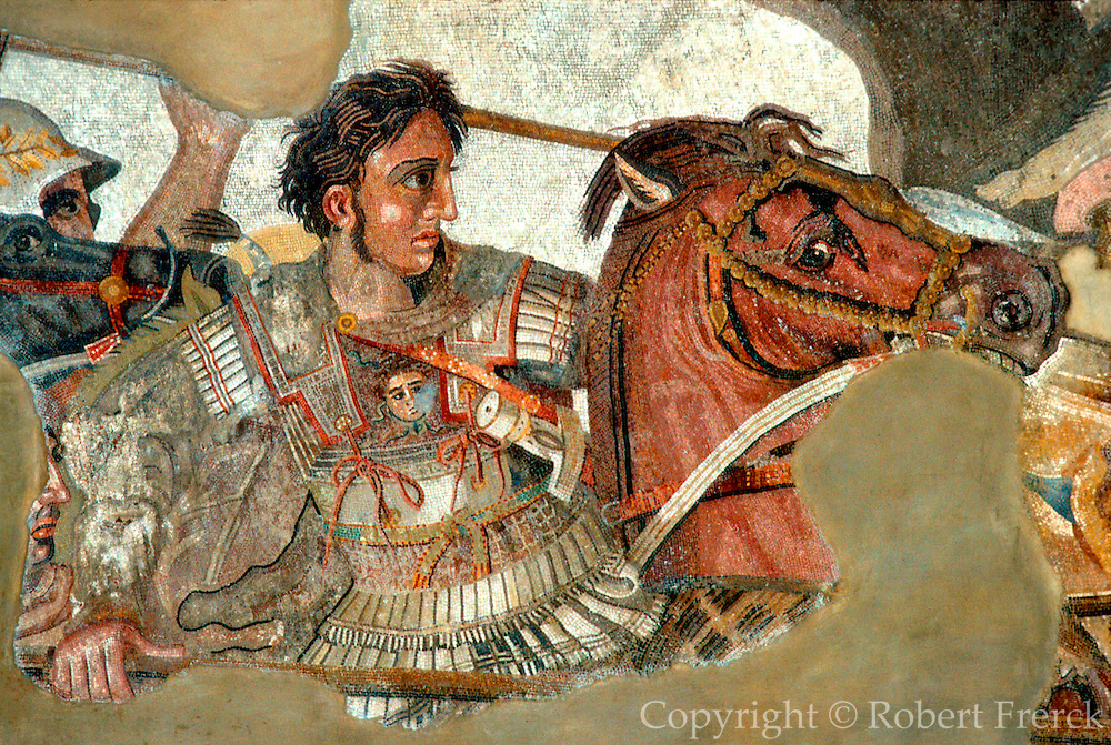 ITALY, ROMAN HISTORY Alexander the Great in a mosaic from Pompeii at the National Archeology Museum in Naples