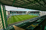 General view inside Easter Road Stadium, Edinburgh, Scotland before the SPFL Premiership match between Hibernian and St Johnstone on 1 May 2021.