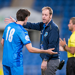 BRISBANE, AUSTRALIA - SEPTEMBER 20: Gold Coast City coach Grae Piddick gives instructions to Jason Campbell of Gold Coast City during the Westfield FFA Cup Quarter Final match between Gold Coast City and South Melbourne on September 20, 2017 in Brisbane, Australia. (Photo by Gold Coast City FC / Patrick Kearney)