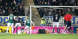 Hibernian's Jason Cummings scoring their goal. <br /> Falkirk 1 v 1 Hibernian, Scottish Championship game played 17/1/2015 at The Falkirk Stadium.