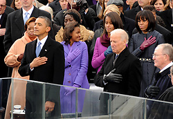 """File photo dated January 21, 2013 of Barack Obama during the National Anthem at the inauguration ceremonies at the U.S. Capitol in Washington, DC, USA. Former President Barack Obama endorsed Joe Biden, his two-term vice president, on Tuesday morning in the race for the White House. """"Choosing Joe to be my vice president was one of the best decisions I ever made, and he became a close friend. And I believe Joe has all the qualities we need in a president right now,"""" Obama said in a video posted to Twitter. Photo by JMP-Douliery/ABACAPRESS.COM"""
