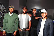 September 22, 2012- Los Angeles, CA:  (L-R) Recording Artist Mos Def aka Yasiin Bey, Anthony Marshall, Co-Founder & Producer, Lyricist Lounge, Recording Artist Talib Kweli, and Danny Castro, Co-founder & Producer, Lyricist Lounge backstage at the Lyricist Lounge 20th Year Reunion Party-Los Angeles held at Club Nokia at LA Live on September 22, 2012 in Los Angeles, California. The Lyricist Lounge is a hip hop showcase of rappers, emcees, DJ's, and Graffiti artists. It was founded in 1991 by hip hop aficionados Danny Castro and Anthony Marshall. It was a series of open mic events hosted in a small studio apartment in the Lower East Side section of New York City.(Terrence Jennings)