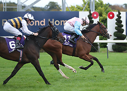 Moracana (right) ridden by Robbie Colgan win the Leopardstown Members Club Maiden at Leopardstown Racecourse. Picture date: Saturday October 16, 2021.