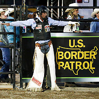 CHEYENNE, WY - JULY 26: Boudreaux Campbell celebrates following his ride of bull Stinger during the Professional Bull Riders Last Cowboy Standing on July 26, 2021, at the Cheyenne Frontier Days, Cheyenne, WY. (Photo by Chris Elise)