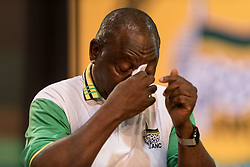 JOHANNESBURG, Dec. 18, 2017  Cyril Ramaphosa reacts after the announcement of results at South Africa's ruling party African National Congress' conference in Johannesburg, South Africa, on Dec. 18, 2017. South Africa's ruling party African National Congress (ANC) elected Cyril Ramaphosa on Monday to be the party's president for the next five years. (Credit Image: © Dave Naicker/Xinhua via ZUMA Wire)