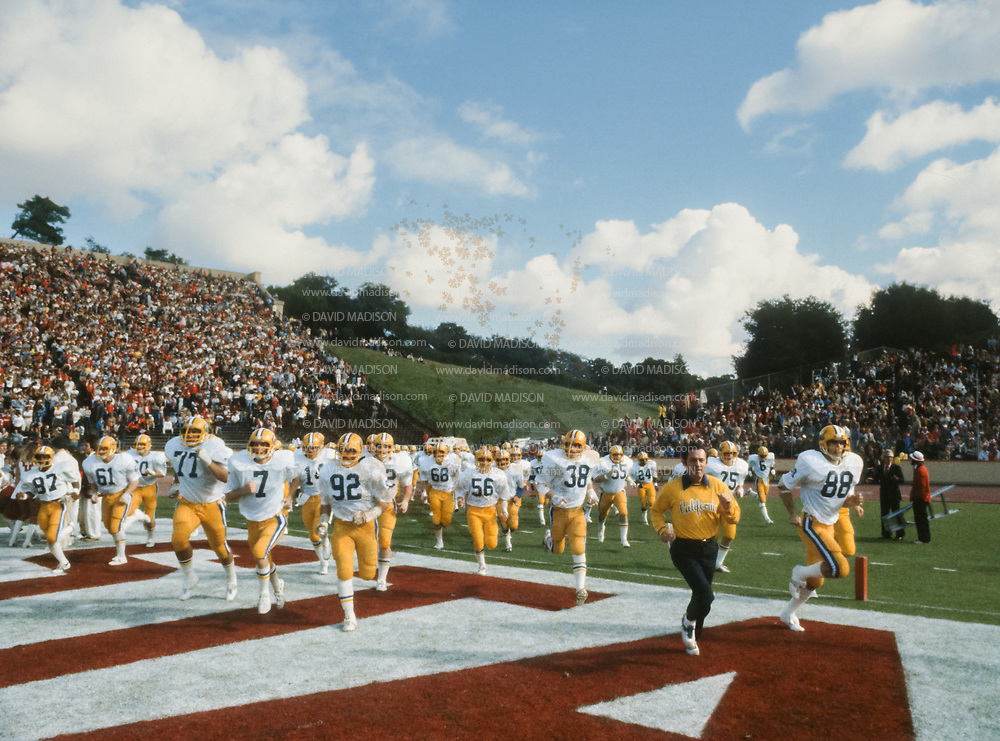 PALO ALTO, CA - NOVEMBER 17:  Stanford v Cal in the 82nd Big Game played on November 17, 1979 at Stanford Stadium in Palo Alto, California.  Cal Head Coach Roger Theder visible center right.  Photograph by David Madison.  www.davidmadison.com.