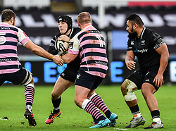 Ospreys' Sam Davies is tackled by Cardiff Blues' Rhys Gill<br /> <br /> Photographer Craig Thomas/Replay Images<br /> <br /> Guinness PRO14 Round 13 - Ospreys v Cardiff Blues - Saturday 6th January 2018 - Liberty Stadium - Swansea<br /> <br /> World Copyright © Replay Images . All rights reserved. info@replayimages.co.uk - http://replayimages.co.uk