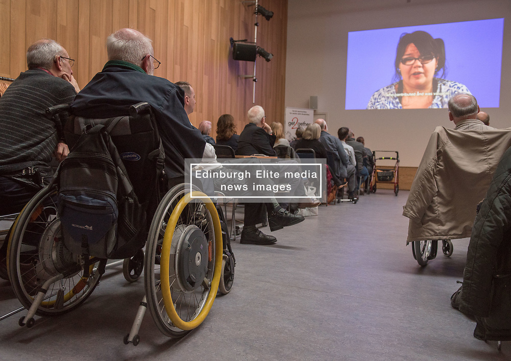 """A short film about the challenges faced by disabled people when trying to access public transport will screen as part of film showings at Edinburgh cinemas during Disabled Access Day this weekend (10-12 March). <br /> The short film has been launched by Edinburgh based charity get2gether, who work with almost 500 disabled adults in Edinburgh and the Lothians by organising social events and encouraging members to take initiative. <br /> The film, """"Buggy Off"""", was created by get2gether Member and Ambassador Karen Sutherland with the support of Media Education and is based on one of Karen's many personal experiences. The film was launched at the Grassmarket Community Project in Edinburgh on Wednesday 8 March before screening ahead of films at the Cameo and Filmhouse over the weekend. Pictured: Attendees at the Grassmarket screening<br /> <br /> <br /> © Jon Davey/ EEm"""