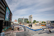Het Jaarbeursplein in Utrecht in volle aanbouw.<br /> <br /> The Jaarbeursplein in Utrecht in transformation.