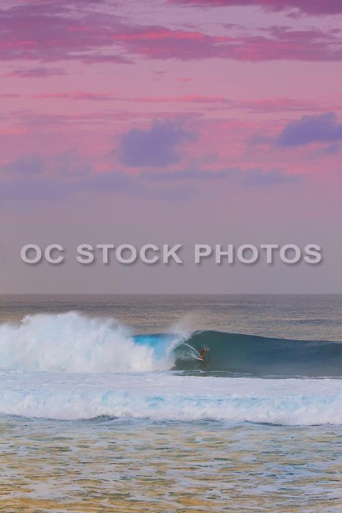 Surfer at Pipeline at Sunrise