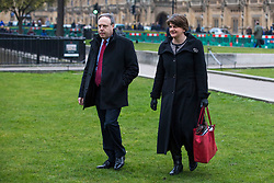 © Licensed to London News Pictures. 21/02/2018. London, UK. DUP Leader ARLENE FOSTER (R) and DUP Deputy Leader NIGEL DODDS (L) on College Green after meeting with Prime Minister Theresa May. Photo credit: Rob Pinney/LNP