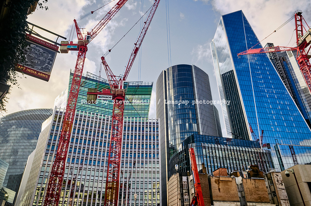 Construction work in Fenchurch Street showing Walkie Talkie building, Fen Court building, Willis building and Scalpel building,  London, England - 18 February 2021