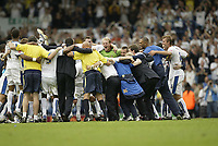 Photo: Aidan Ellis.<br /> Leeds United v Swansea City. Coca Cola League 1. 22/09/2007.<br /> Leeds players and staff enjoy victory at the end of the game