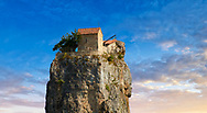 Picture & image of Katskhi Pillar Georgian Orthodox church on a 40 m (130 ft) natural limestone rock pillar near Chiatura, Imereti Region, Georgia (country).<br /> <br /> Studies have shown that the pillar was an early medieval hermitage occupied from at least the 9th century.