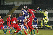 Portugal Captain Eduardo Filipe Quaresma Vieira Coimbra Simoes (C) wins the ball in the air during the U17 European Championships match between Portugal and Scotland at Simple Digital Arena, Paisley, Scotland on 20 March 2019.