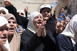 July 27, 2017 - 27.07.17 Palestinians celebrate on the streets of Jerusalem after Israeli Police this morning removed all remaining securit ffrom Temple Mount. (Credit Image: © Louise Wateridge via ZUMA Wire)