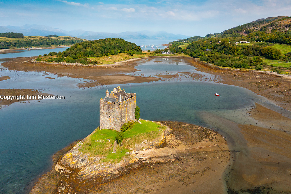 Aerial view from drone of Castle Stalker, on Loch Laich in Lynn of Lorn National Scenic Area Argyll and Bute, Scotland, UK