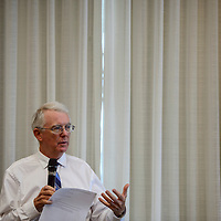 Jeff Keily addresses the audience during a behavioral health forum at the Hilton Garden Inn in Gallup Thursday.