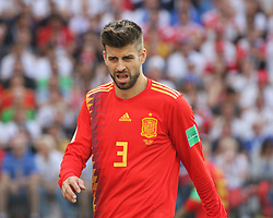 July 1, 2018 - Moscow, Russia - July 01, 2018, Russia, Moscow, FIFA World Cup 2018, the playoff round. Football match Spain - Russia at the stadium Luzhniki. Player of the national team Gerard Pique. (Credit Image: © Russian Look via ZUMA Wire)