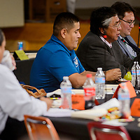 Council delegate Leonard Tsosie makes a statement during the Navajo Nation Council meeting at the Navajo Department of Education in Window Rock Monday.