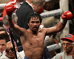 Jan 19,2019. Las Vegas NV.( in blk trunks)  Manny Pacquiao waves to his fans as he takes the win after going 12 rounds with Adrien Broner at the MGM grand Hotel Saturday. Manny Pacquiao  took the win by unanimous decision for the World Welterweight Championship..Photo by Gene Blevins/ZumaPress. (Credit Image: © Gene Blevins/ZUMA Wire)