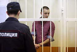 May 30, 2017 - Saint Petersburg, Russia - May 30, 2017. - Russia, Saint Petersburg. - The Kalininsky District Court of St. Petersburg has found student Sergey Kosyrev guilty of murdering prominent Russian journalist Dmitry Tsilikin and sentenced him to 8.5 years in a penal colony. In picture: Sergey Kosyrev in a court. (Credit Image: © Russian Look via ZUMA Wire)