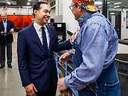 15 APRIL 2019 - DES MOINES, IOWA: JULIÁN CASTRO (left) talks to RALPH YOUNG, a welding teacher, during Castro's visit to the Central Campus Skilled Trades Alliance at the Des Moines Public School's Central Campus Monday. Castro is on his third visit to Iowa since declaring his candidacy for the Democratic ticket of the US Presidency. Casto talked to students and administrators about skilled trades education and toured the campus. Iowa traditionally hosts the the first selection event of the presidential election cycle. The Iowa Caucuses will be on Feb. 3, 2020.                PHOTO BY JACK KURTZ