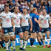 DUBLIN, IRELAND:  September 25:   Bulls players after conceding a try during the Leinster V Bulls United Rugby Championship match at Aviva Stadium on September 25th, 2021 in Dublin, Ireland. (Photo by Tim Clayton/Corbis via Getty Images)