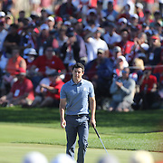 Ryder Cup 2016. Day Three. Rory McIlroy of Europe on the seventeenth during the Sunday singles competition at  the Ryder Cup tournament at Hazeltine National Golf Club on October 02, 2016 in Chaska, Minnesota.  (Photo by Tim Clayton/Corbis via Getty Images)