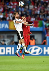 Ricardo Carvalho of Portugal battles for the high ball with Martin Harnik of Austria  - Mandatory by-line: Joe Meredith/JMP - 18/06/2016 - FOOTBALL - Parc des Princes - Paris, France - Portugal v Austria - UEFA European Championship Group F