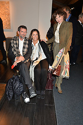 Left to right, COUNT MANFREDIE DELLA GHERARDESCA, Pia Hahn and DORRIT MOUSSAIEFF at the PAD London 2015 VIP evening held in the PAD Pavilion, Berkeley Square, London on 12th October 2015.
